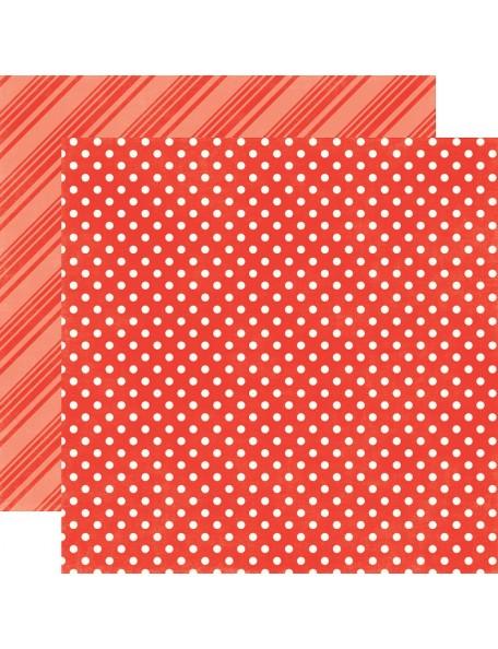 """Echo Park - Summer Dots & Stripes Cardstock de doble cara 12""""X12"""" , Tomato"""
