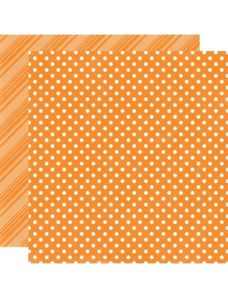 "Echo Park - Summer Dots & Stripes Cardstock de doble cara 12""X12"", Orange"