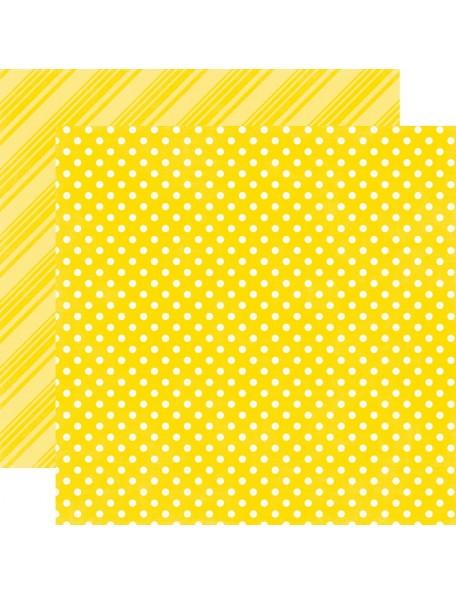 """Echo Park - Summer Dots & Stripes Cardstock de doble cara 12""""X12"""", Lemon"""