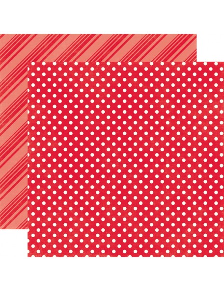 "Echo Park - Brights Dots & Stripes Cardstock de doble cara 12""X12"", Ladybug"