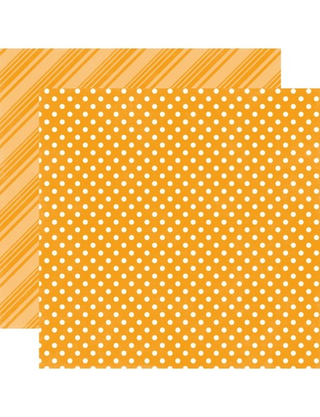 "Echo Park - Brights Dots & Stripes Cardstock de doble cara 12""X12"", Tangerine"