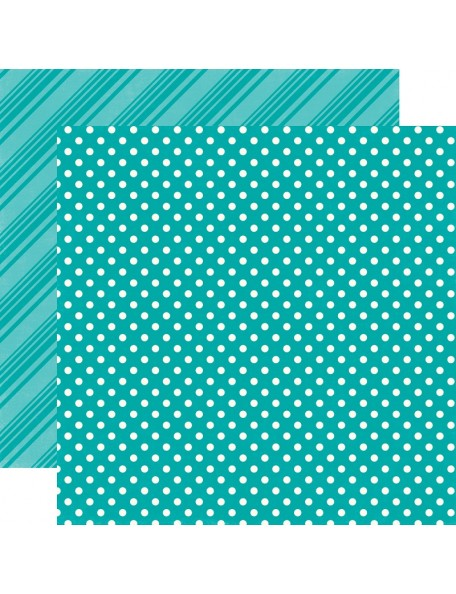 "Echo Park - Brights Dots & Stripes Cardstock de doble cara 12""X12"", Aqua"