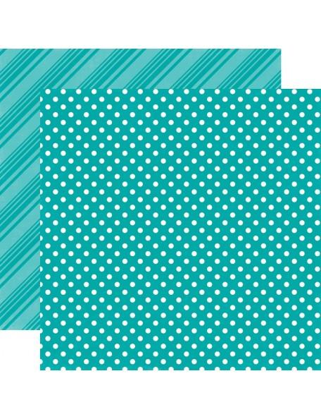 """Echo Park - Brights Dots & Stripes Cardstock de doble cara 12""""X12"""", Aqua"""
