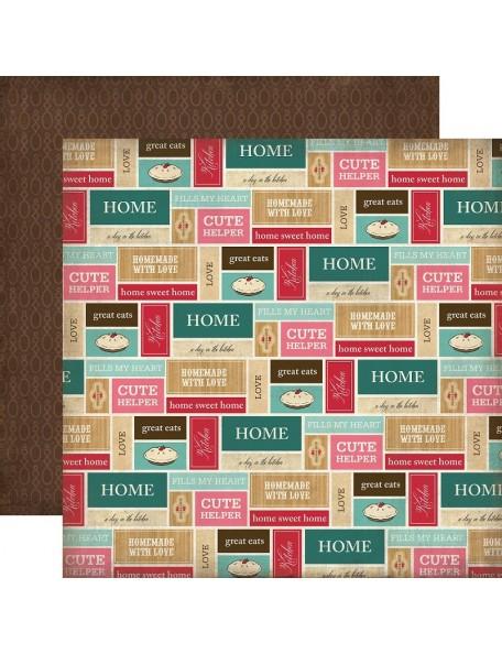 "Carta Bella Home Sweet Home Cardstock de doble cara 12""X12"", Kitchen Labels"