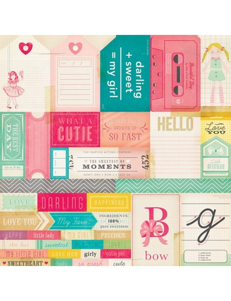 "Crate Paper - Oh Darling Cardstock de doble cara 12""X12"", Cut-Outs"