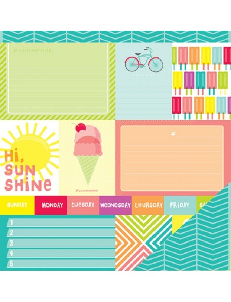 "American Crafts Summer Cardstock de doble cara 12""x12"", Sunny Day"