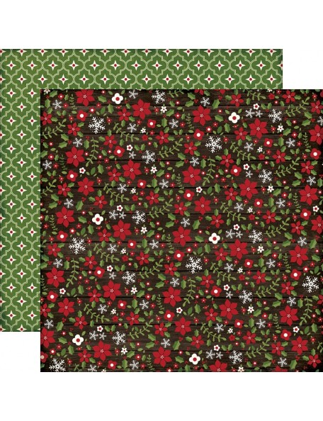 "Echo Park The Story Of Christmas Cardstock de doble cara 12""X12"" Flowers"