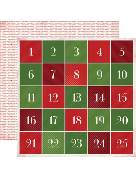 "Carta Bella Have A Merry Christmas Cardstock de doble cara 12""X12"", Advent Calendar"