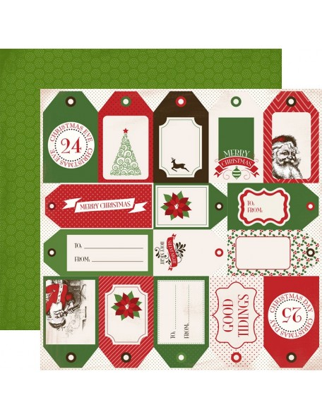 "Carta Bella Have A Merry Christmas Cardstock de doble cara 12""X12"", Holiday Tags"