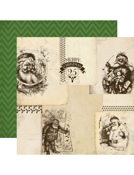 "Carta Bella Have A Merry Christmas Cardstock de doble cara 12""X12"", Vintage Santas"
