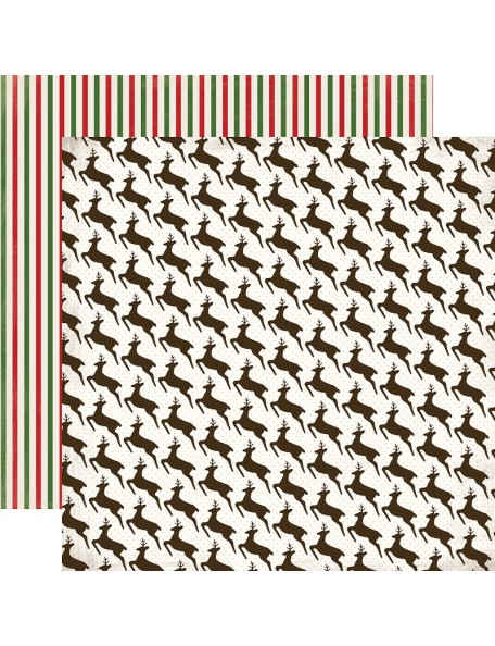 "Carta Bella Have A Merry Christmas Cardstock de doble cara 12""X12"", Leaping Reindeer"