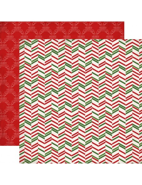 "Carta Bella Have A Merry Christmas Cardstock de doble cara 12""X12"", Christmas Herringbone"