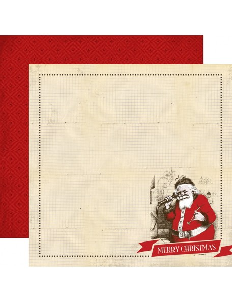 "Carta Bella Have A Merry Christmas Cardstock de doble cara 12""X12"", Santa Claus"