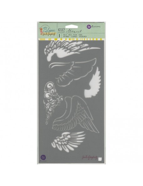 "Prima Marketing Jamie Dougherty Bloom Stencil 6""X12"", Wings"