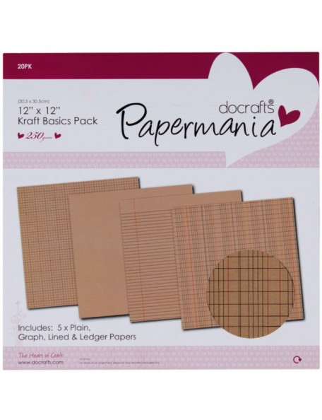 "Papermania Kraft Basics Paper Pack 12""X12"" 20"