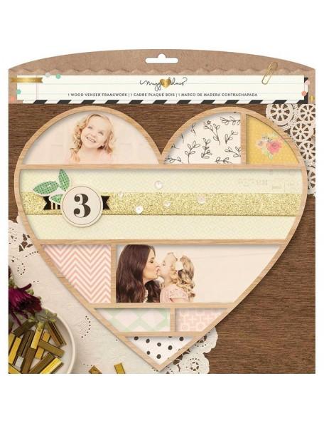 "American Crafts Maggie Holmes Confetti Wood Veneer Framework 11""X10"", Heart"