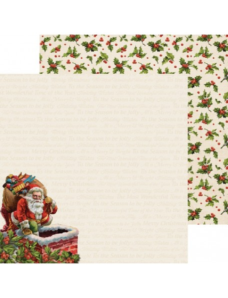 "Kaisercraft Silent Night Cardstock de doble cara 12""X12"", Down The Chimney"