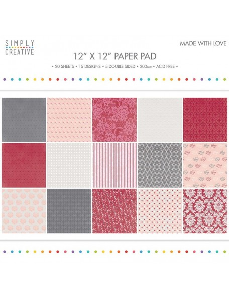 "Simply Creative 12""x12"" Paper Pad 200 gsm Made with Love"