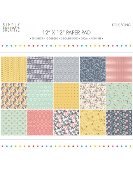 "Simply Creative 12""x12"" paper pad 200 gsm Folk Song"