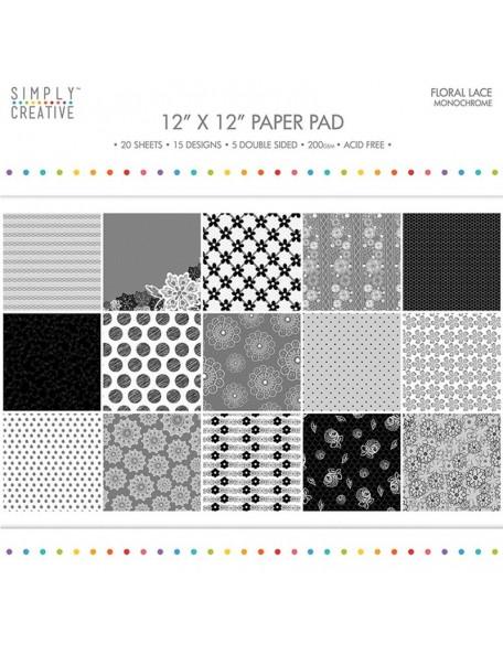 """Simply Creative Paper Pad Floral Lace 12""""X12"""" 20, Monochrome, 15 Designs/5 Hojas de doble cara"""