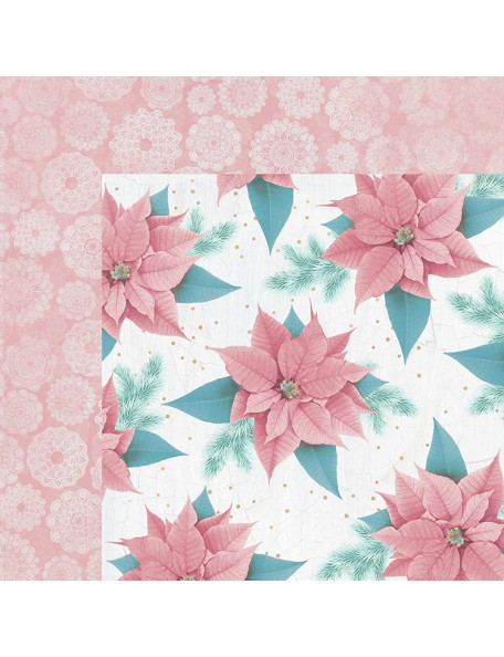 "Kaisercraft Christmas Wishes Cardstock de doble cara 12""X12"", Pink Poinsettia"