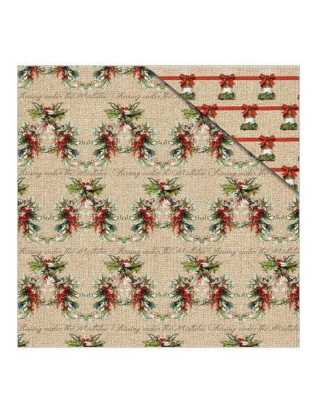 "Fabscraps Christmas Memories Cardstock de doble cara 12""X12"", Christmas Holly"