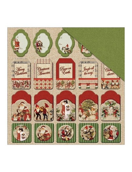 "Fabscraps Christmas Memories Cardstock de doble cara 12""X12"", Christmas Tags"