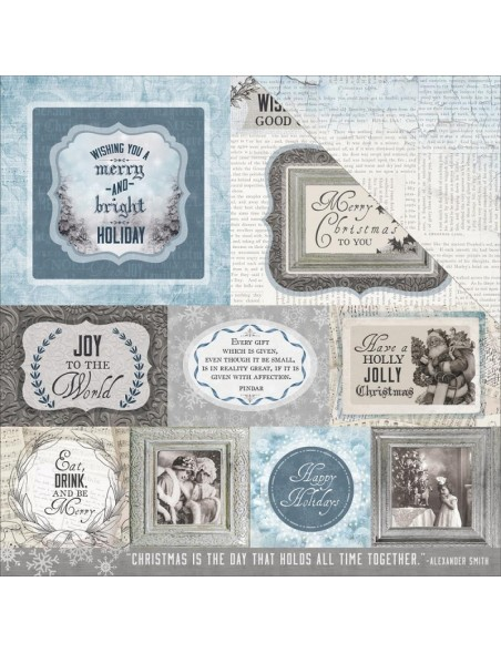 """Kaisercraft Frosted Cardstock de doble cara 12""""X12"""", Icy"""