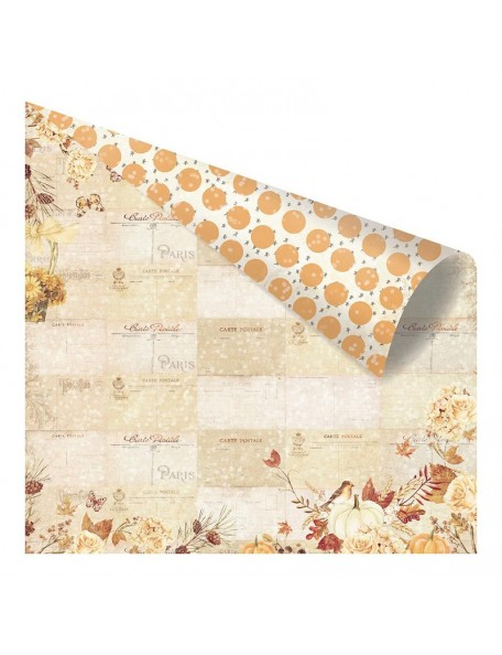 "Prima Marketing Amber Moon Foiled Cardstock de doble cara 12""X12"", Fall Postcards From Paris"