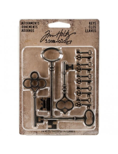 Tim Holtz Idea-Ology Metal Adornments, Silver Keys