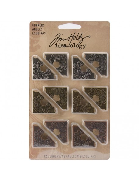 "Tim Holtz Idea-Ology Ornate Corners 1""12 pzas, Antique Nickel, Brass & Copper"