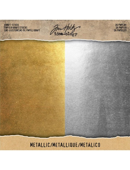 "Tim Holtz Idea-Ology Kraft Stock Cardstock Pad 8""X8"" 36 Metallic Gold & Silver"