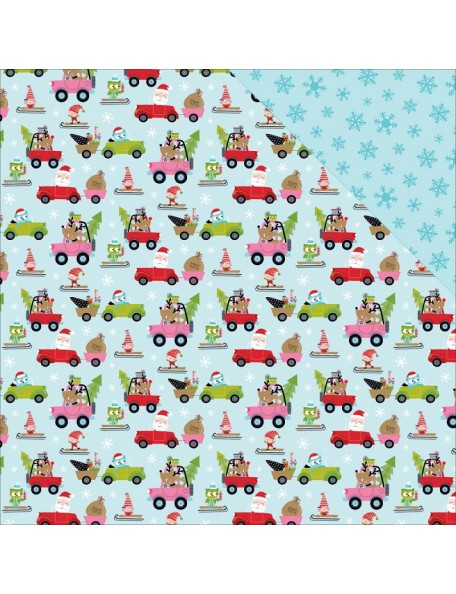 "Bella BLVD Santa Stops Here Cardstock de doble cara 12""X12"", On The Move"