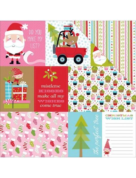 """Bella BLVD Santa Stops Here Cardstock de doble cara 12""""X12"""", Daily Details"""