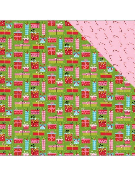 "Bella BLVD Santa Stops Here Cardstock de doble cara 12""X12"", Ready To Unwrap"