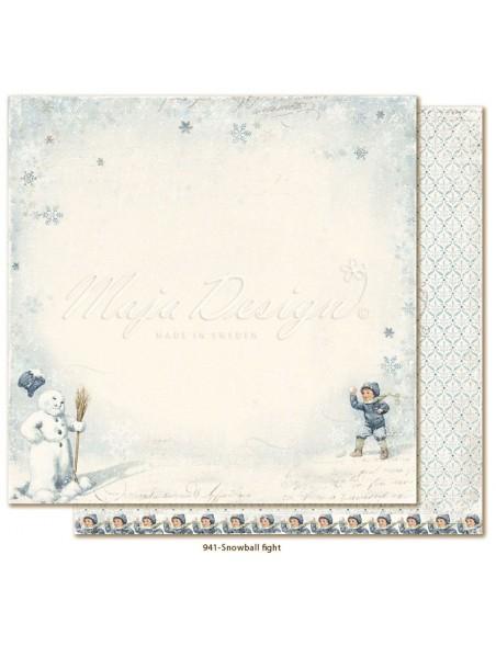 """Maja Design Joyous Winterdays Cardstock de doble cara 12""""X12"""" , Snowball fight"""