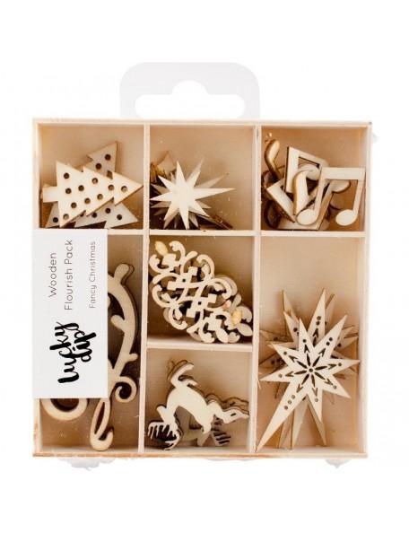 Kaisercraft Themed Mini Wooden Flourishes pces. 35 Fancy Christmas