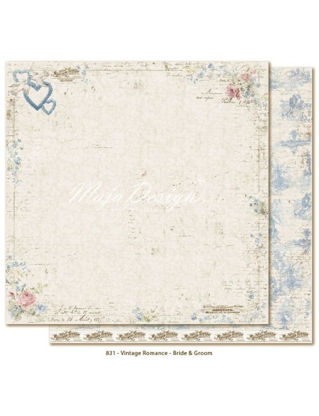 "Maja Design Vintage Romance Cardstock de doble cara 12""x12"", Bride & Groom"