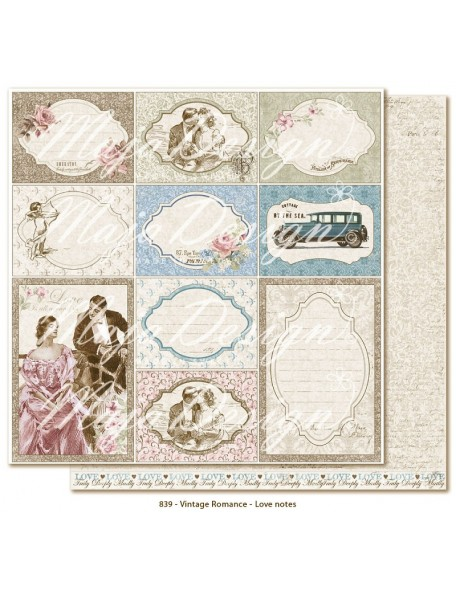 "Maja Design Vintage Romance Cardstock de doble cara 12""x12"", Love notes"