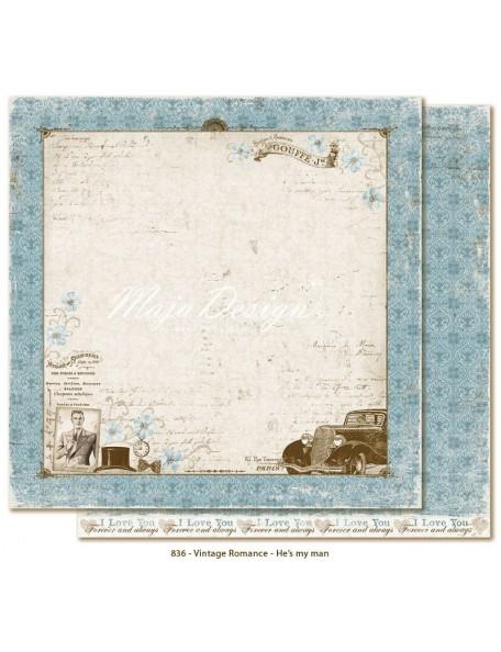 "Maja Design Vintage Romance Cardstock de doble cara 12""x12"", He's my man"