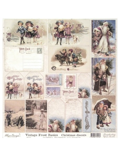 "Maja Design - Vintage Frost Basics Cardstock de doble cara 12""x12"", Christmas Diecuts"