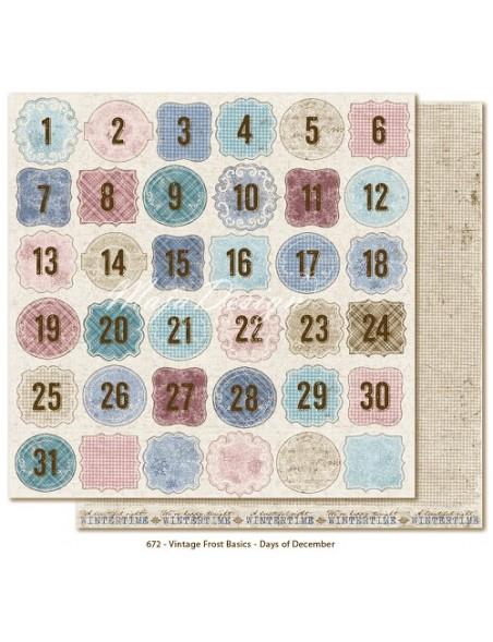 "Maja Design - Vintage Frost Basics Cardstock de doble cara 12""x12"", Days of December"
