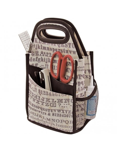 "Tim Holtz Storage Studios Typography Spinning Craft Tote, 7.25""X7.25""X15.75"""