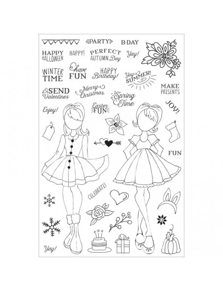 """Prima Marketing Julie Nutting Planner Clear Stamps 4""""X6"""", Holiday Bliss"""
