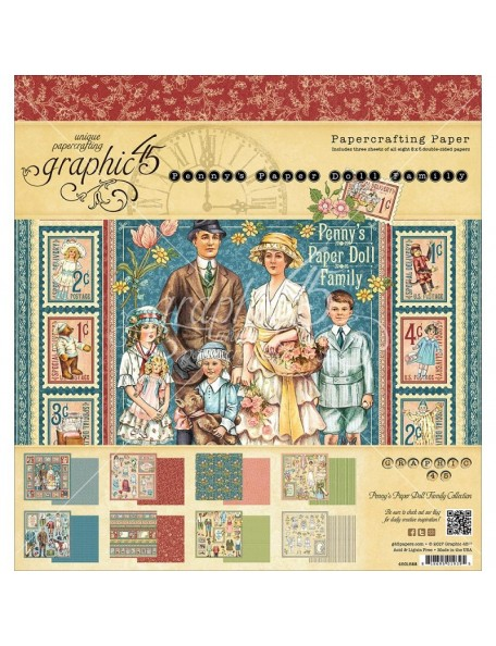 "Graphic 45 Cardstock de doble cara 8""X8"" 24, Penny's Paper Doll, 8 dibujos/3 de cada"