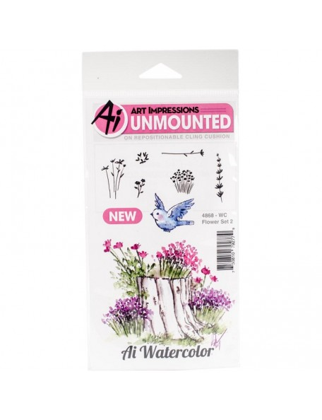 Art Impressions Watercolor Cling Rubber Stamps Set Flores 2
