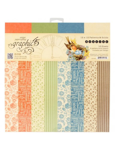 "Graphic 45 Paper Pad Cardstock de doble cara12""X12"", Seasons 16 8 Diseños/2"