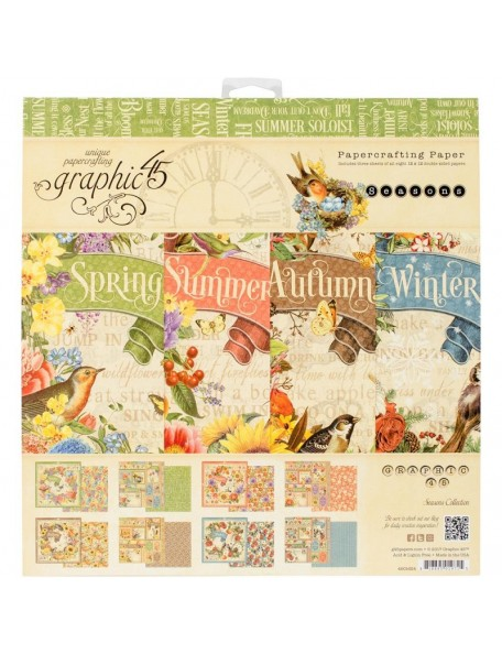 "Graphic 45 Paper Pad Cardstock de doble cara 12""X12"" 24, Seasons 8 Diseños/3"