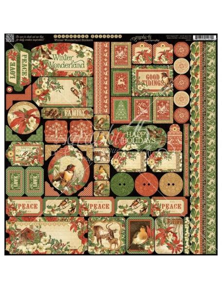 "Graphic 45 Winter Wonderland Cardstock Stickers 12""X12"""