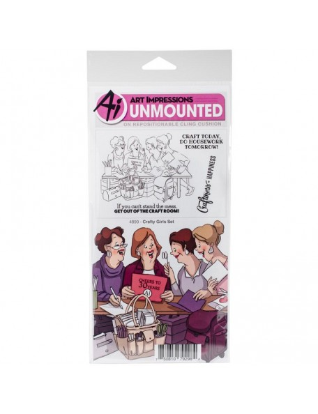 """Art Impressions Girlfriends Cling Rubber Stamps10""""X4.5"""", Crafty Girls"""